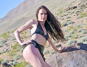 SofieMarieXXX/Black Mesh Halter and Skirt Desert