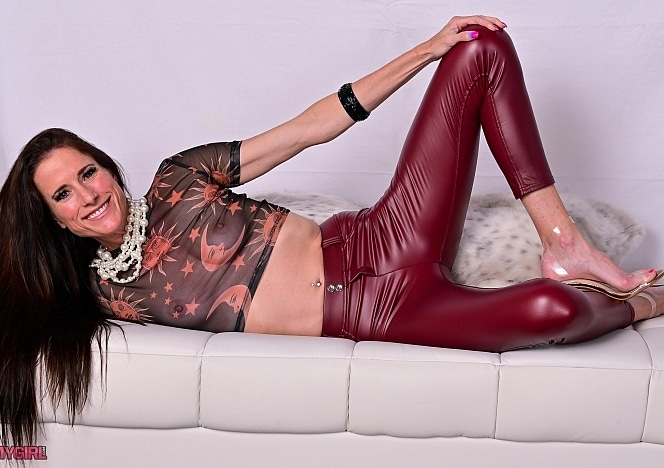 SofieMarieXXX/Red Leather Tights Sheer Top